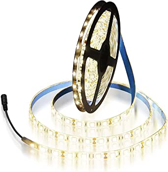 ALITOVE 16.4ft Warm White 3500K 5050 SMD LED Flexible Strip Ribbon Light 5M 300 LEDs Waterproof IP65 DC 12V for Home Garden Commercial Area and Festival Lighting