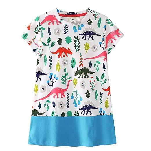 c4d4f2acd7 Little Girl Pajama Set Short Sleeve Dinosaur Nightgowns White Dress Toddler Cotton  Sleepwear Summer 2-