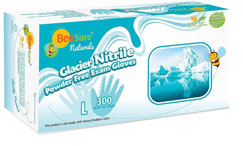 BeeSure Glacier Nitrile Powder Free Exam Gloves