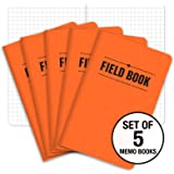 "Field Notebook - 3.5""x5.5"" - Orange - Graph Memo Book - Pack of 5"