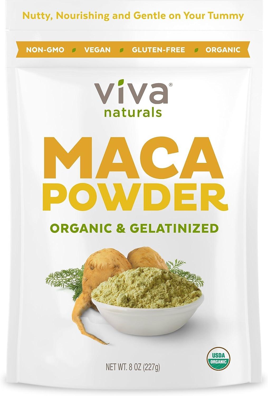 Viva Naturals Organic Maca Powder, 8oz Bag, Gelatinized for Enhanced Bioavailability, Non-GMO