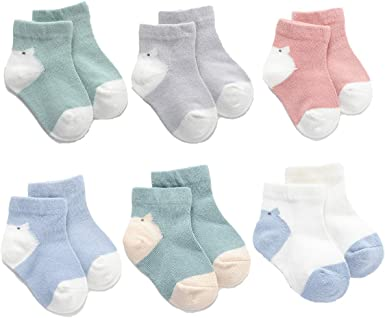 Needoo Bear OO Baby Socks Newborn For Babies Toddler Non Skid Ankle 4 pairs For Boys Girls Infant