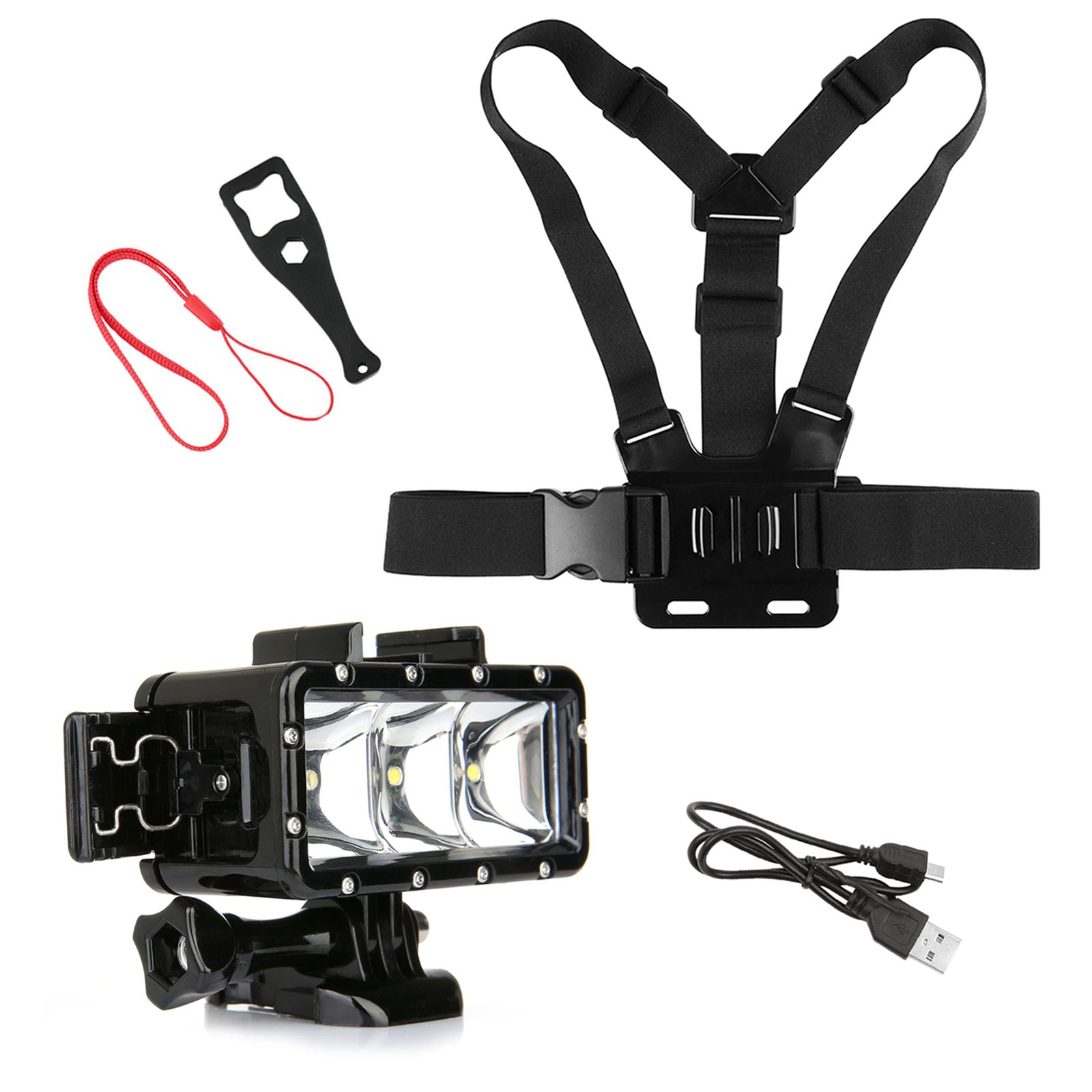 SHOOT Outdoor Diving Light Accessories Kit for GoPro Hero 6/5/4/3+/3/5 Session/4 Session/HERO(2018)/Fusion AKASO DBPOWER Crosstour FITFORT Camera Sports Underwater LED Flashlight Chest Strap by SHOOT