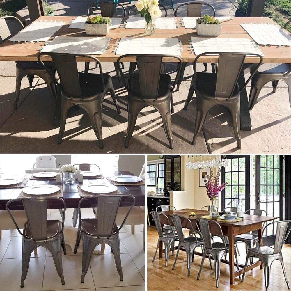 Yaheetech Iron Metal Dining Chairs Stackable Side Chairs with Back Indoor-Outdoor Classic/Chic/Industrial/Vintage Bistro Café Trattoria Kitchen Gun Metal,Set of 4 by Yaheetech (Image #7)