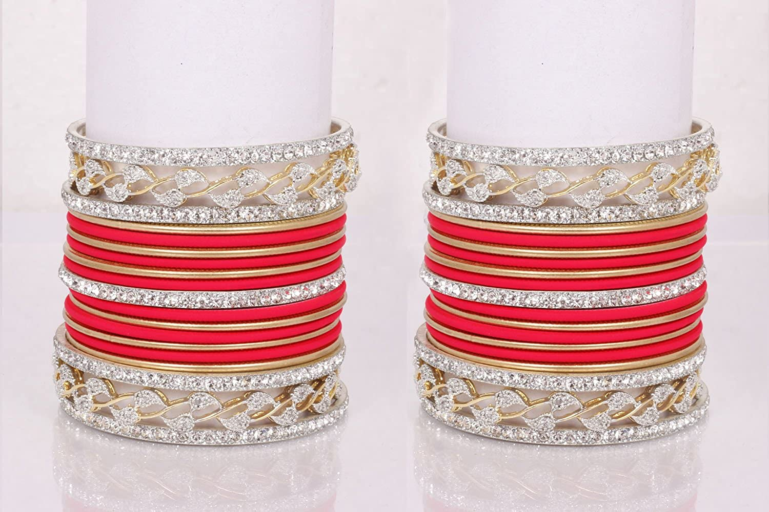 chauhan collection Pink-Golden Color Indian 38 PCS Bangles Arrangement Set American Daimond Bangles Party WEAR Jewelry