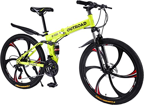 Max4out Mountain Bike Folding Bikes, Featuring 6 Spoke 21 Speed Shining SYS Double Disc Brake Fork Rear Suspension Anti-Slip, Yellow Black