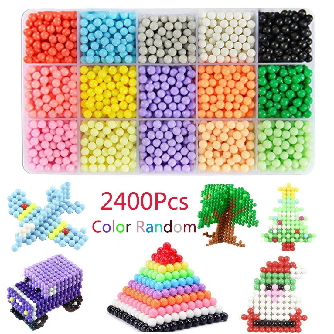 Fuse Beads Kit,Bagvhandbagro 3d Fuse Beads,2400 beads 15 colours Bead Refill Magic Beads with DIY Pegboard and Full Set Accessories,Educational Toys for Kids Beginners Activity Pack,Color Random