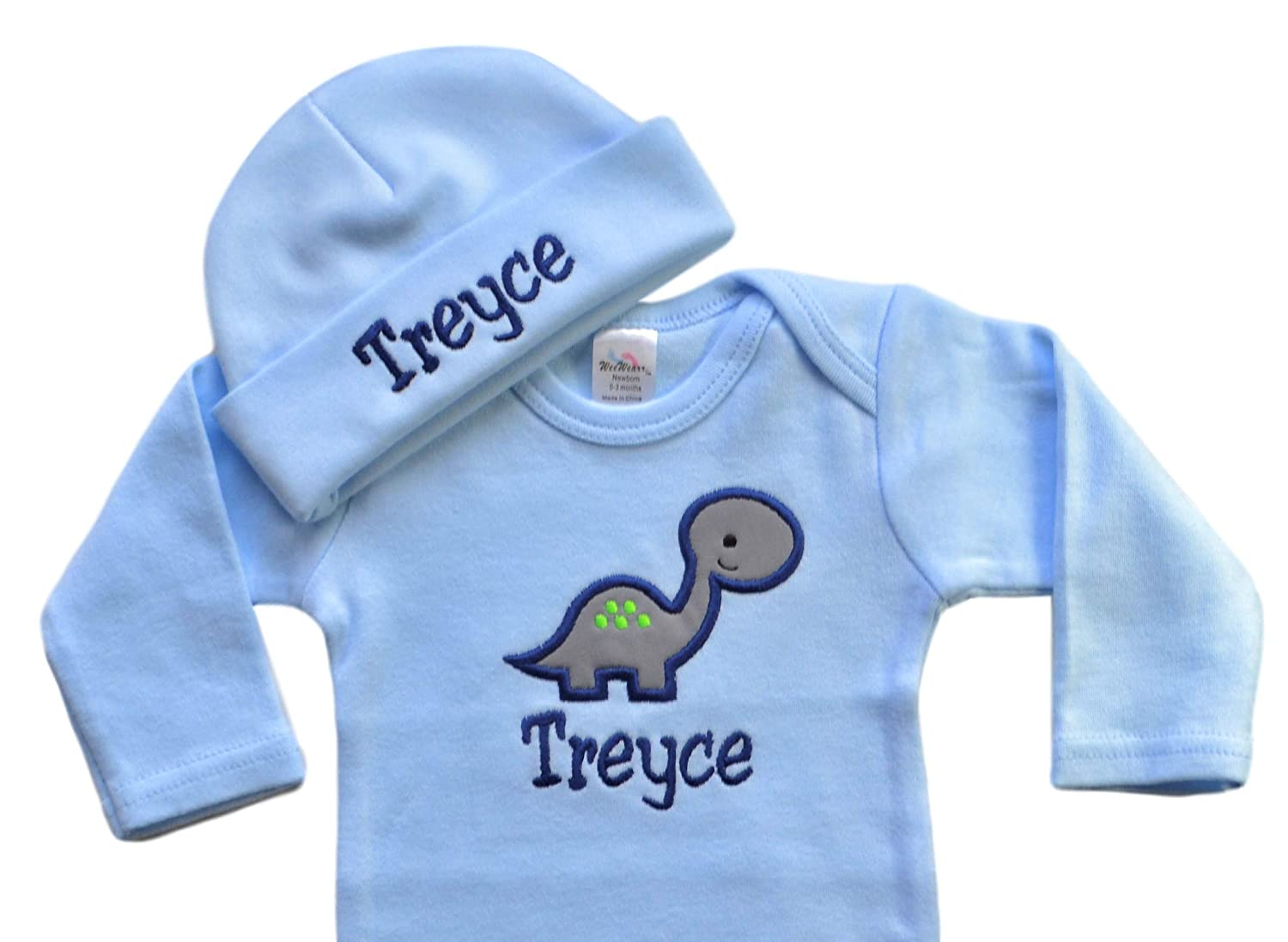 Your Custom Name Personalized Embroidered Baby Boy Dinosaur Newborn Gown with Matching Cotton Beanie Hat