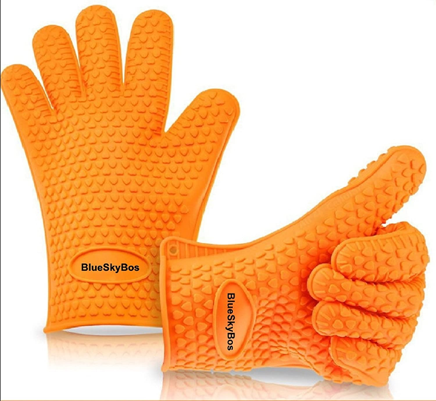One Pair of Premium Top Rate Thick Silicone Heat Resistant BBQ Oven Cooking Gloves pot holder (One-Size-Fits-Most, Orange)