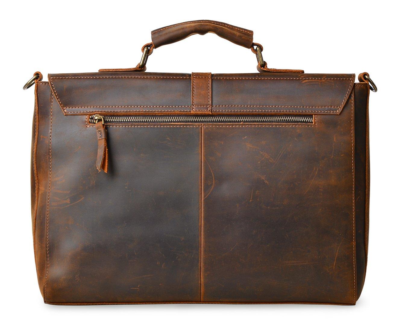 ALTOSY Vintage Genuine Leather Business Laptop Briefcase Office Shoulder Bag 8127 (Brown) by Altosy (Image #3)