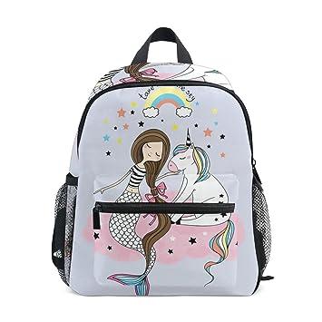 9733708203c Amazon.com   Cooper girl Unicorn And Mermaid Kids Backpack School Bookbag  for Girls Boys Toddler   Kids  Backpacks