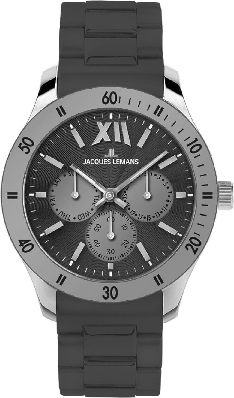Jacques Lemans - Reloj analógico de Cuarzo Unisex, Correa de Silicona