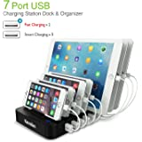 Kavalan 7 Port USB Charging Station Dock & Organizer with 2 Fast Charging Port, Universal desktop Tablet & Smartphone Multi-Device Charger Hub with Smart Rapid Charging ports