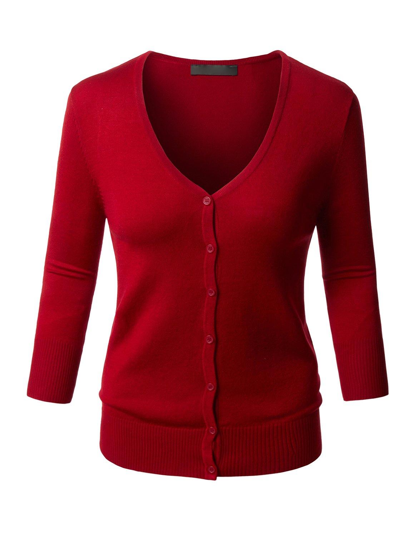 RK RUBY KARAT Womens Clean Rib Fine Knit 3/4 Sleeve Cardigan Sweater