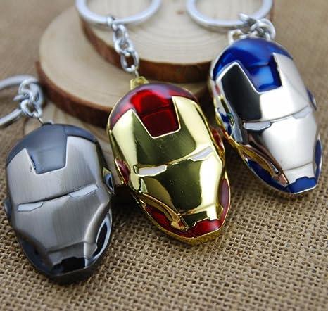 Tapa superior de superhéroes Los Vengadores Iron Man máscara llavero de Metal llavero colgante