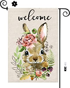 Bunny Easter Garden Flag With Stoppers & Clips, Spring Garden Flag 12x18 Double Sided, Burlap Welcome Easter Flag Small Seasonal Flags With Rabbit Flower Wreath For Home Decor Outside Yard Decorations