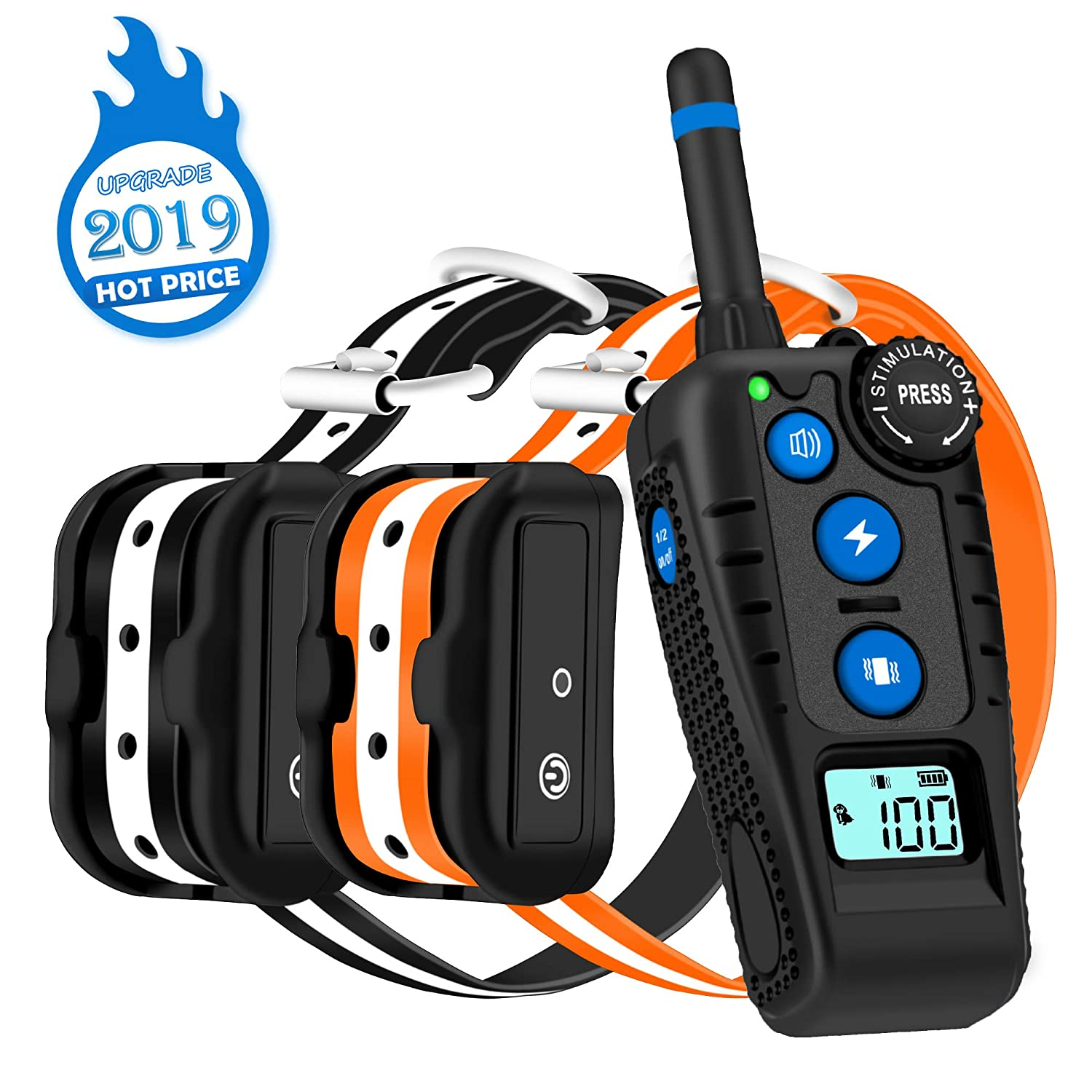 WILLBEST Dog Training Collars with Rotary Dial Remote, Waterproof and Rechargeable Shock Reflective Collars with Beep, Vibration and Shock Modes for 2 Dogs