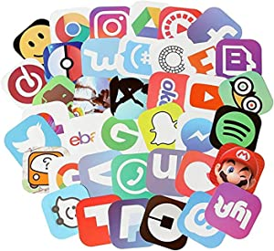 50 Pcs APP Vinyl Waterproof Stickers, for Laptop, Luggage, Car, Skateboard, Motorcycle, Bicycle Decal Graffiti Patches