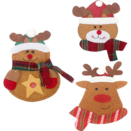 DODOING Navidad muñeco de nieve & Papá Noel & Deer Vajilla plana ...