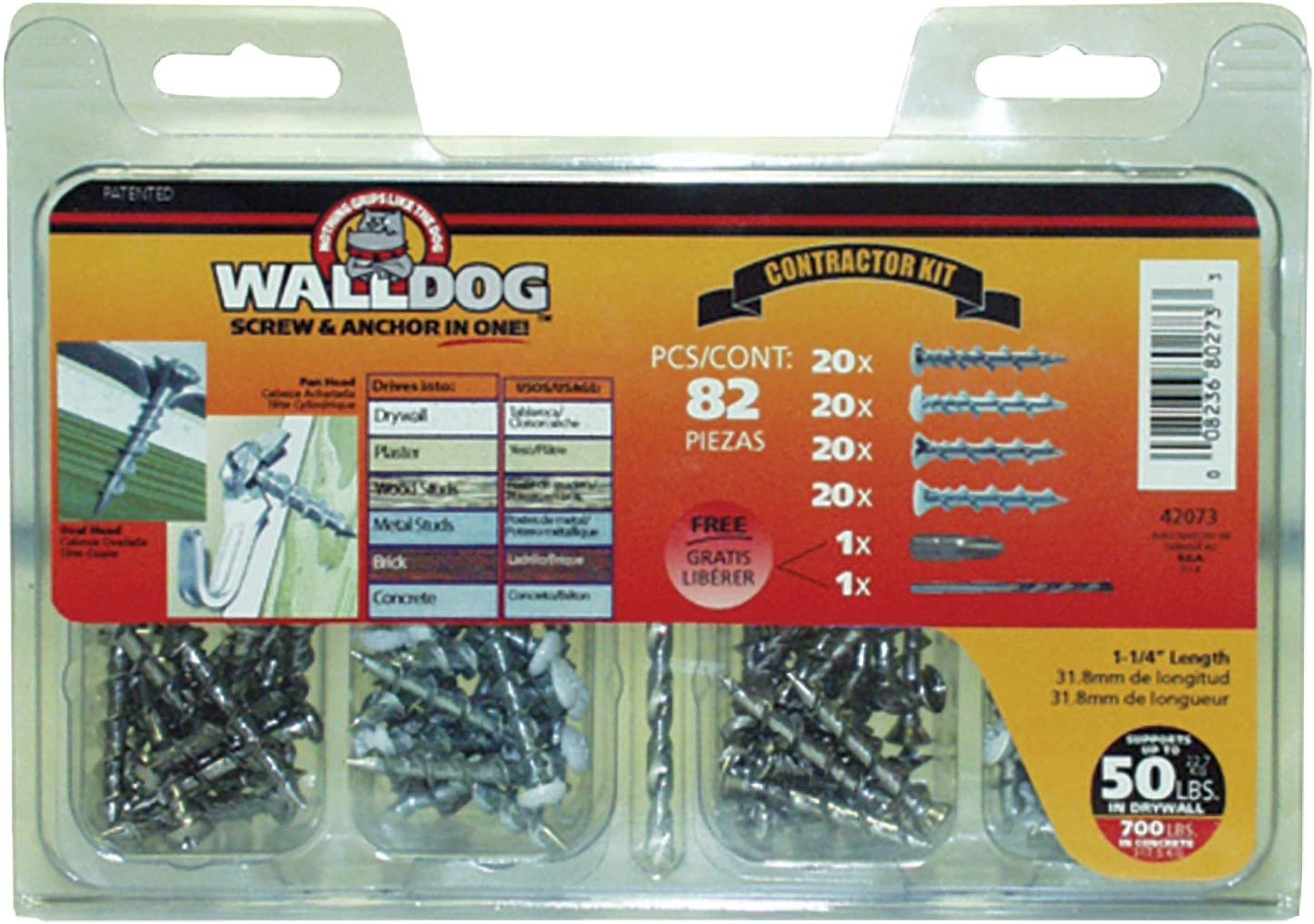 Hillman Group 42073 WALLDOG Screw & Anchor in One Contractor Kit, Pack of 1, 82 Pieces 71yy2frRYDL