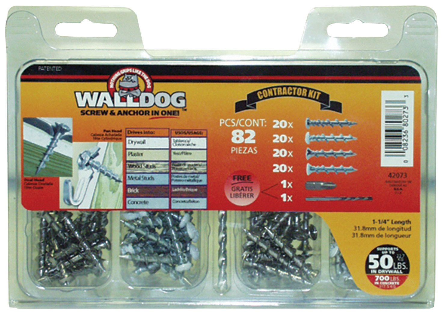 Hillman Group 42073 WALLDOG Screw & Anchor in One! Contractor Kit Pack of 1 82 Pieces