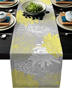 DoremiHome Floral Table Runner 13x70inch for Home Decor, Also Catering Events, Dinner Parties, Wedding, Spring Holiday, Indoor and Outdoor Parties Chrysanthemum Flower Yellow Grey White