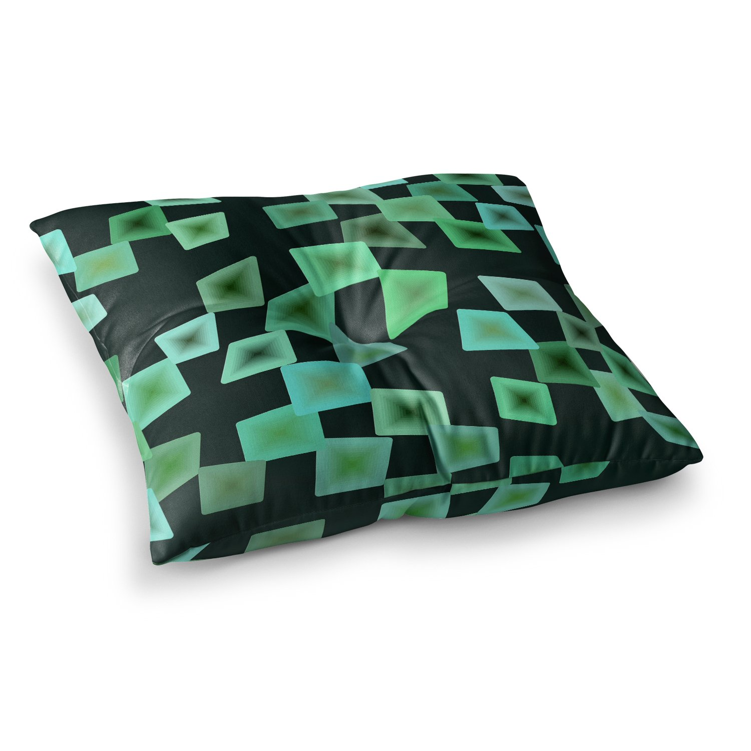 Kess InHouse Mimulux Patricia No Seaglass On The Shore Green Digital, 23' x 23' Square Floor Pillow 23 x 23 Square Floor Pillow MN2002ASF01