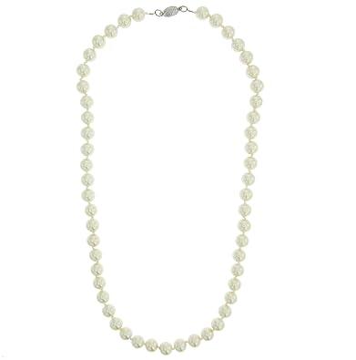 baa7191bb413 behave Collar Largo de Perlas Blancas para Mujer - Collar Largo de Perlas  Blancas para Ella - Bisutería para Ella  Amazon.es  Joyería