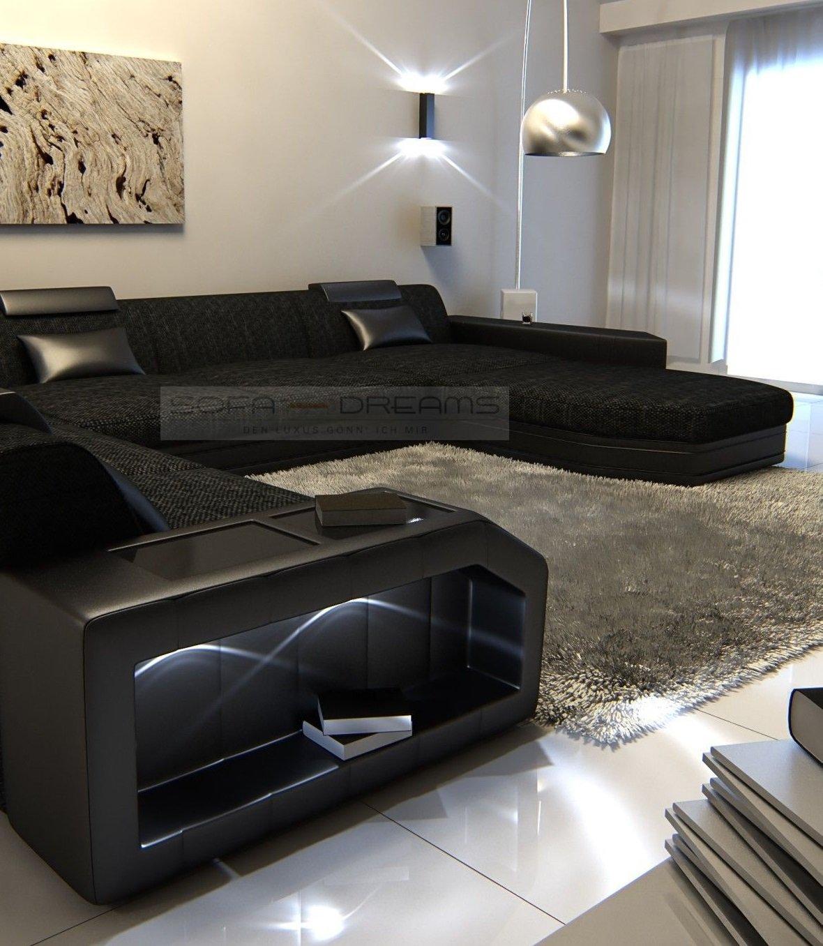 Amazon.com: Modern Fabric Sofa PRATO XXL with LED Lights ...