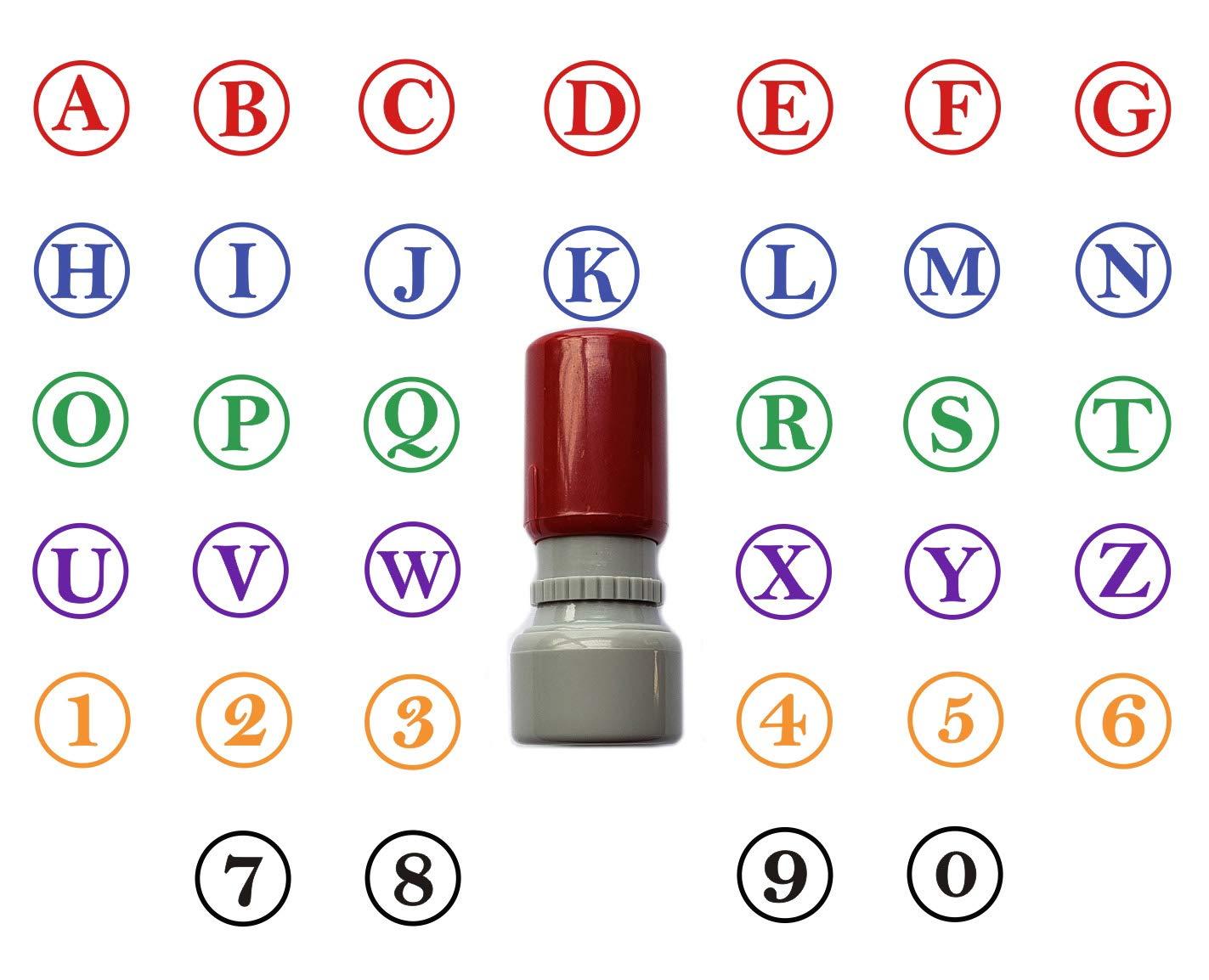 カスタムA-Z アルファベット 0-9 スタンプ ラウンド ラバースタンプ セルフインク イニシャル スタンプ ミニスタンパー 15mm 5/8インチ 8色からお選びいただけます。   B07GD4TQDG