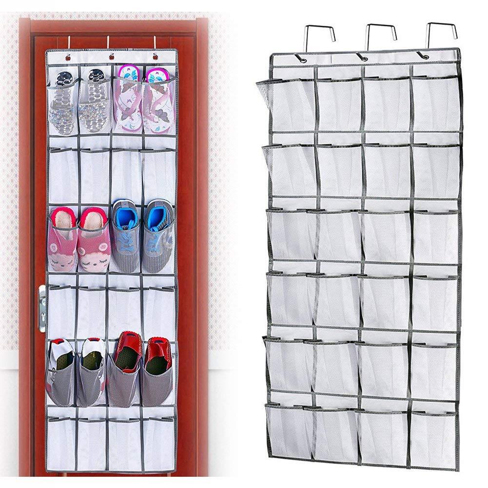 wsryx Shoe Racks Over Door Storage, 24 Large Mesh Pockets Heavy Duty Hanging Holder Tidy Organizer (White)