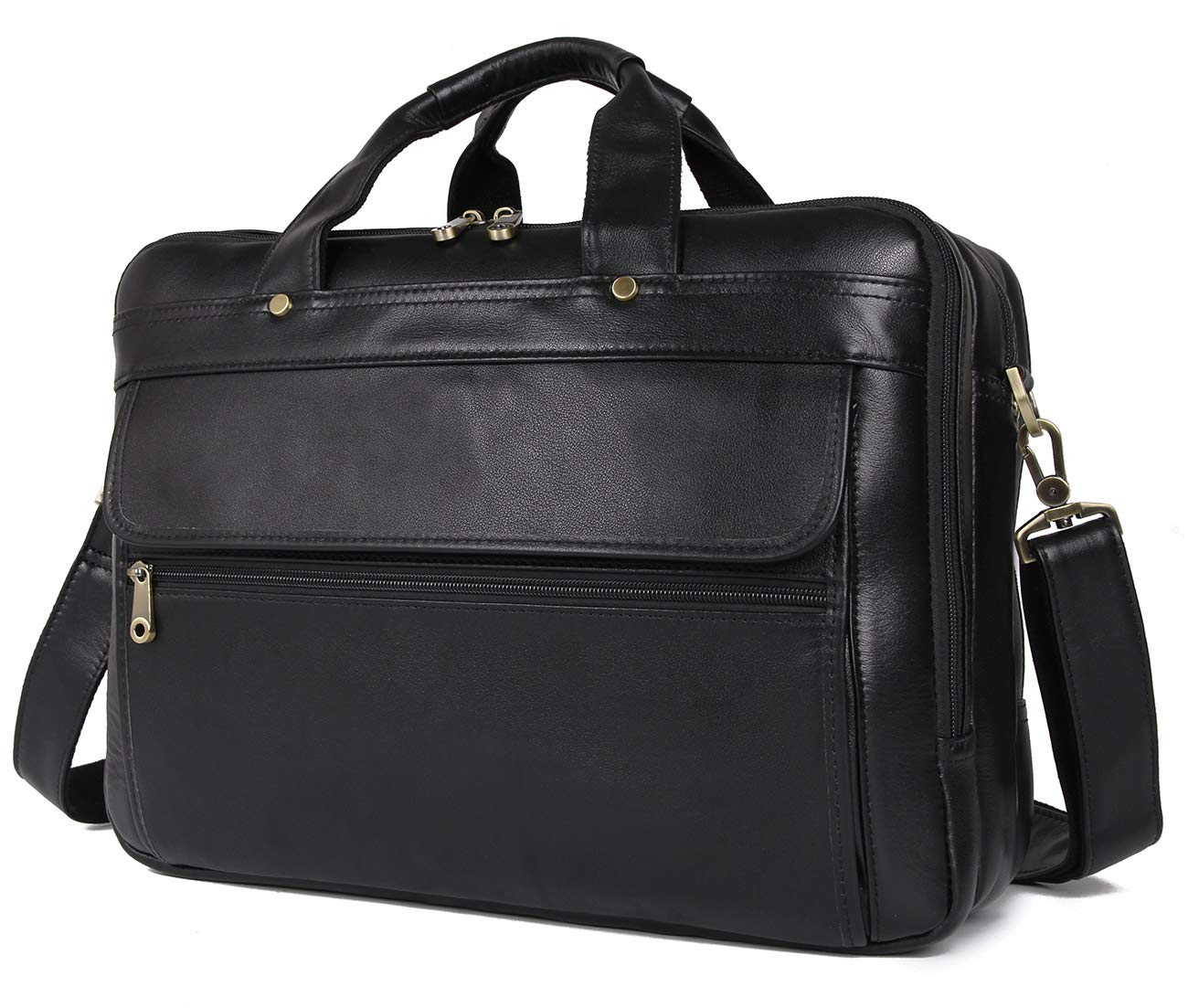 Polare Natural Napa Leather Men's 16'' Black Business Briefcase/Laptop Bag
