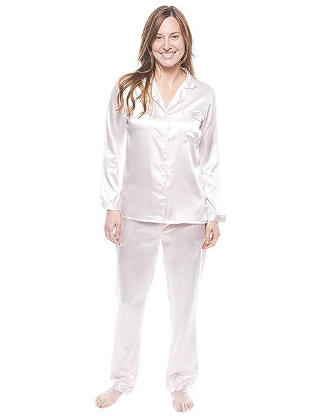 Twin Boat Conjunto Pijama de Satín para Mujer - Perla - 3XL