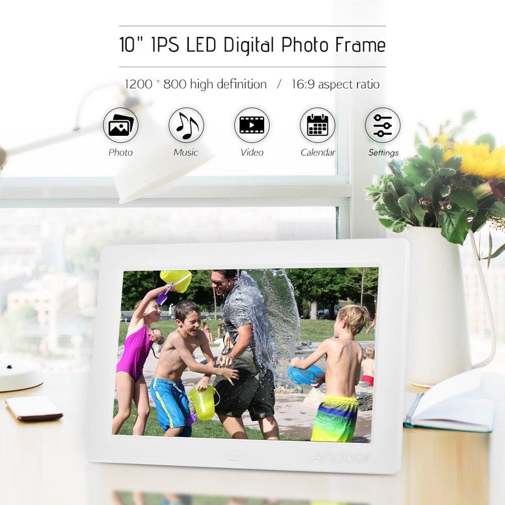 Andoer - 10 Pulgadas Fotos Digital Completo Vista IPS de la Pantalla 1080 p Publicidad eléctrica 1200 * 800 resolución Sensor G Apoyo Shuffle Jugar con ...
