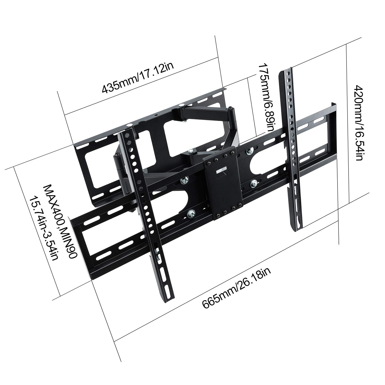 76-178cm Vemount TV Support mural pivotant inclinable pour Ecran 30-70 TV Plasma LCD LED VESA max 600 x 400 mm pour Support TV Samsung LG Sony Panasonic Sharp Aquos Sanyo Finlux TCL Smart TV /écran plat