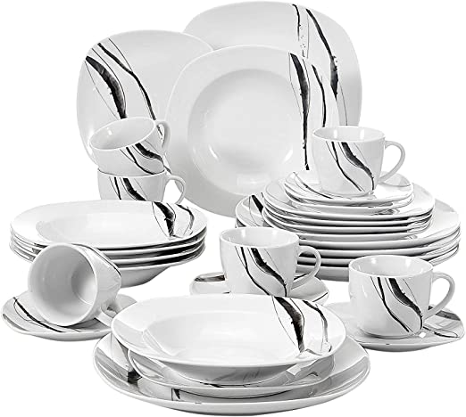 50-Piece White Round Dinner Set Porcelain Crockery Dinnerware 6 Place Setting