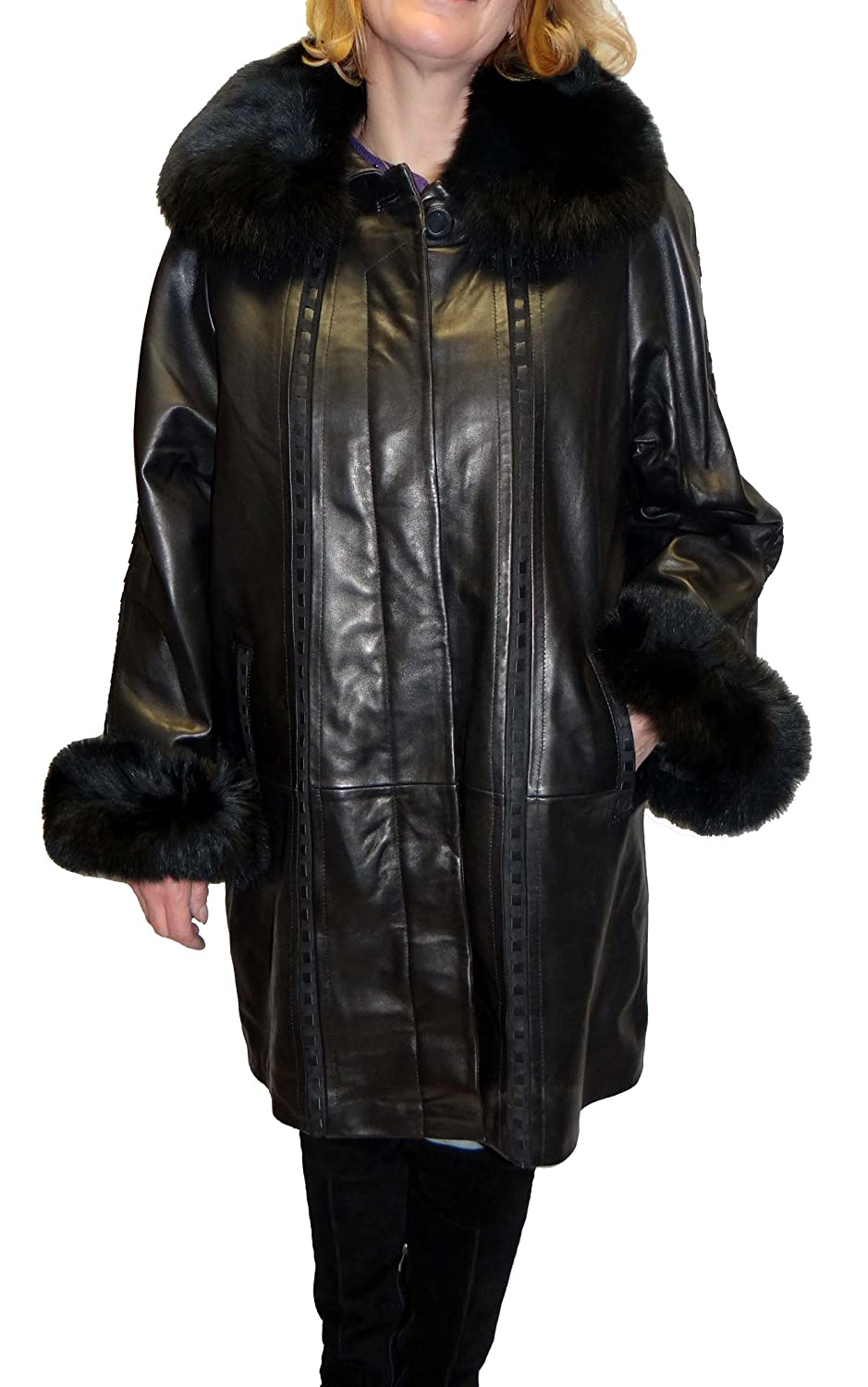 Knoles&Carter Swing Leather Coat with Fox Fur Collar at Amazon ...