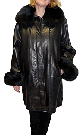 9c20faef4 Knoles & Carter Swing Leather Coat with Fox Fur Collar