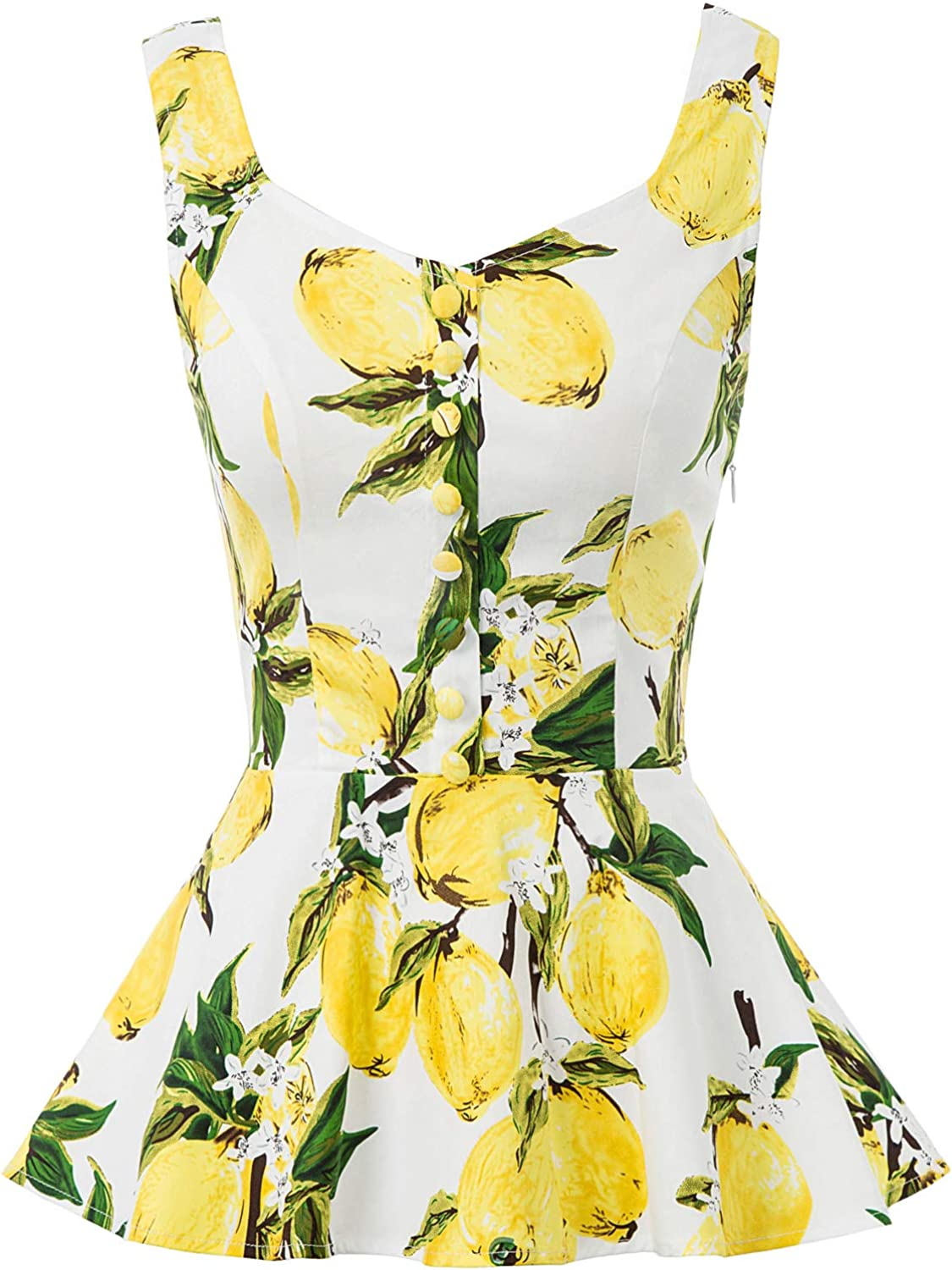 Belle Poque Womens Vintage Sleeveless Tank Top Floral Print Peplum Top BPS02084