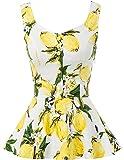Belle Poque 1950s Summer Peplum Tops sin Mangas Botones Vintage Retro Chaleco Camisetas Blusas BPS02084