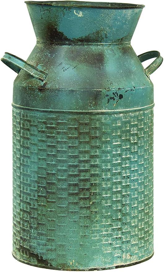 Amazon Com Col House Designs Vintage Blue Basketweave Milk Can Modern Farmhouse Decor Rustic Flower Vase Decorative Vase Home Kitchen