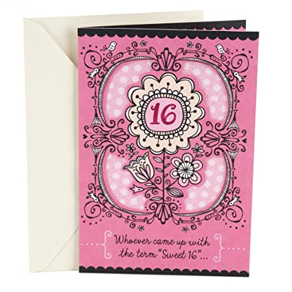 Amazon Hallmark 16th Birthday Card For Her Sweet Flowers