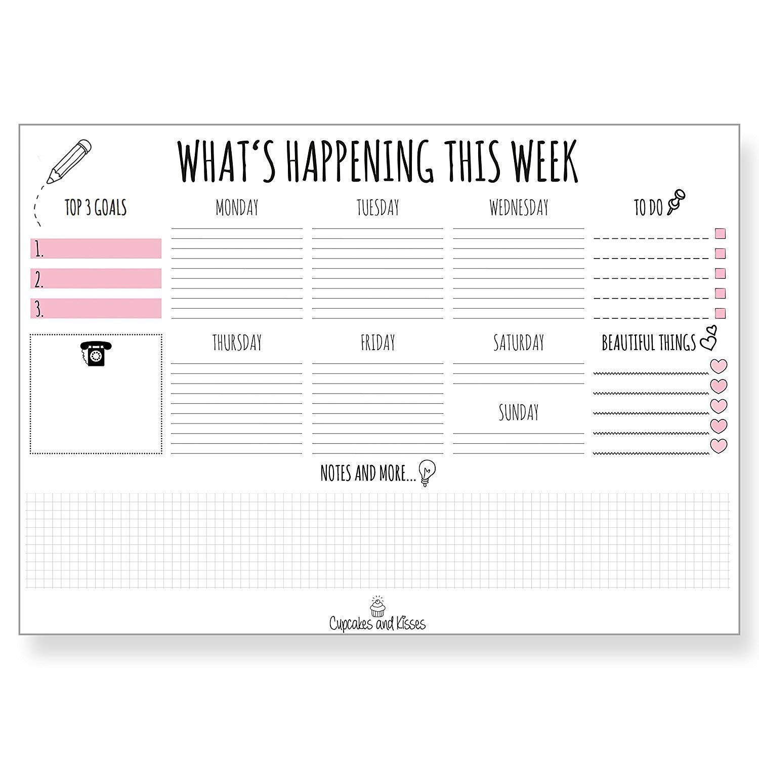CUPCAKES & KISSES Desk Pad Calendar for Writing I Paper I Tear-Off Sheets I for Dates & Notes I Daily Planner & Weekly Overview I to-Do List I 2019 by Cupcakes & Kisses