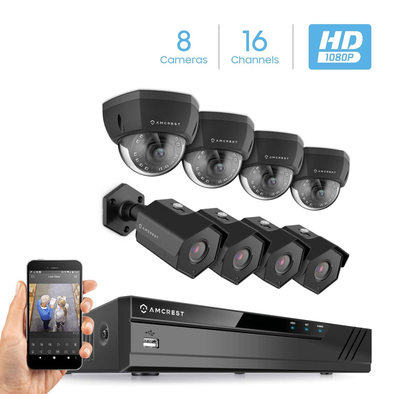 Amcrest 2MP 1080P Security Camera System, w 4K 16CH 8-Port PoE NVR, 8 x 2-Megapixel 3.6mm Wide Angle Lens Weatherproof Metal Bullet Dome PoE IP Cameras, NV4116E-IP2M-851EB4-IP2M-852EB4 Black