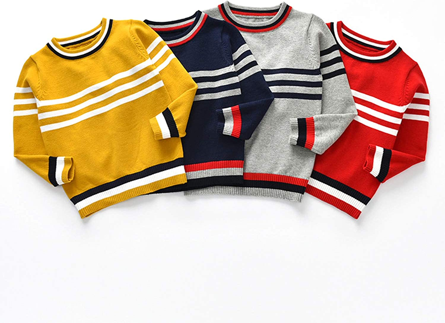Wnitefg Toddler Baby Boys Striped Pullover Sweater Autumn Winter Clothes