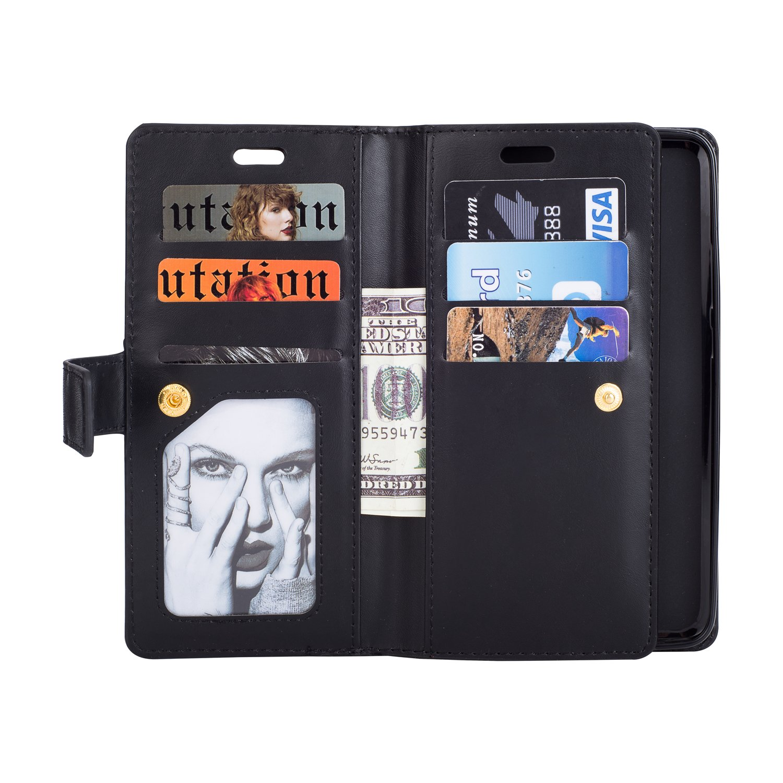 QPOLLY Kompatibel mit Huawei Mate 10 Pro H/ülle Klappbar Ledertasche,PU Leder Handyh/ülle Rei/ßverschluss Brieftasche Magnet Geldb/örse Schutzh/ülle mit 9 Kartenhalter Standfunktion,Ros/égold