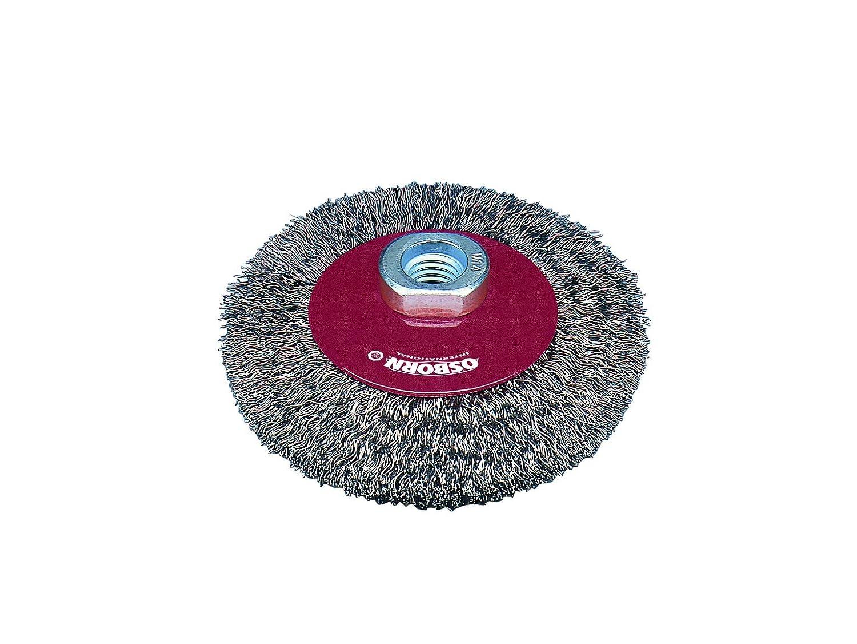 Osborn kegelbürste pour meuleuse d'angle 115 mm, kegelbürste d115 x 10 mm-filetage m14 x 2,0 fil d'acier ondulés 0,3 mm, rouge, 2513161 tÜV