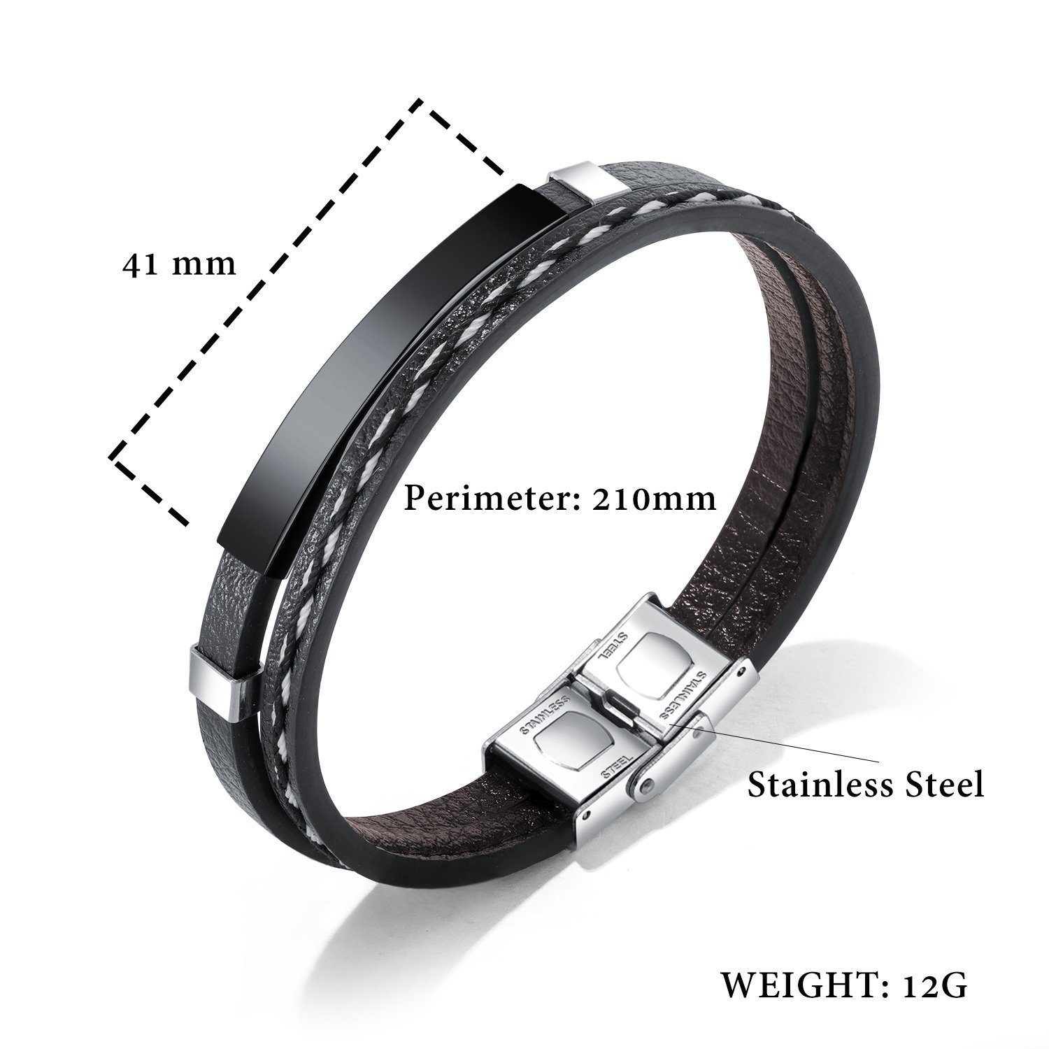 GAGAFEEL Leather Bracelet Braided Rope Cuff Custom Engraved Message Stainless Steel Bangle Unisex Gift (Engraving-Black) by GAGAFEEL (Image #2)