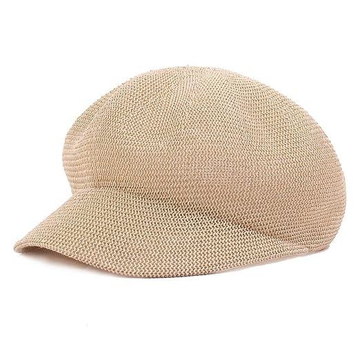 5a5a535b815 Fasbys Women Breathable Mesh Summer Hat Newsboy Beret Ivy Cap Cabbie Flat  Cap (Beige)