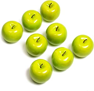 Juvale Artificial Green Apples, Faux Fruit Decor (2.7 in, 8 Pack)